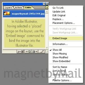 AI link menu to embed image